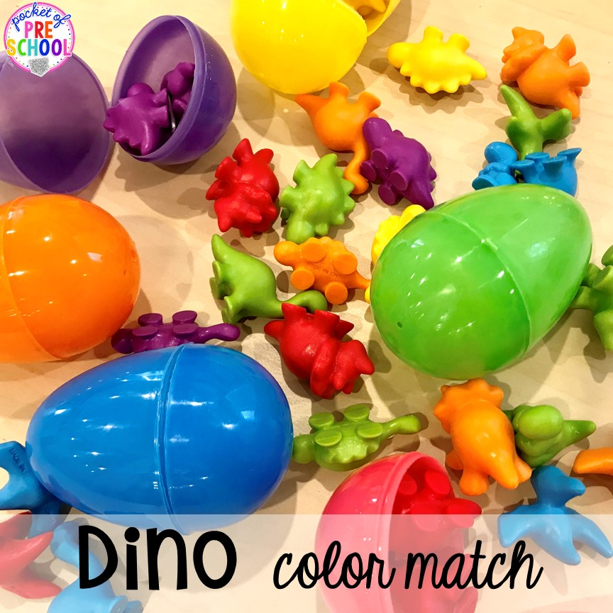 Dinosaur egg color match plus tons of dinosaur themed activities & centers your preschool, pre-k, and kindergarten students will love! #preschool #pocketofpreschool #dinosaurtheme