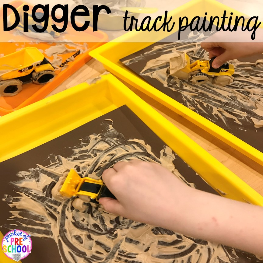 Digger painting! Construction themed centers and activities my preschool & pre-k kiddos will LOVE! (math, letters, sensory, fine motor, & freebies too)
