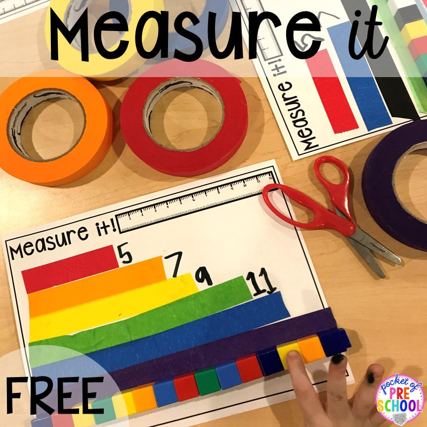 Measurement freebie! Construction themed centers and activities my preschool & pre-k kiddos will LOVE! (math, letters, sensory, fine motor, & freebies too)