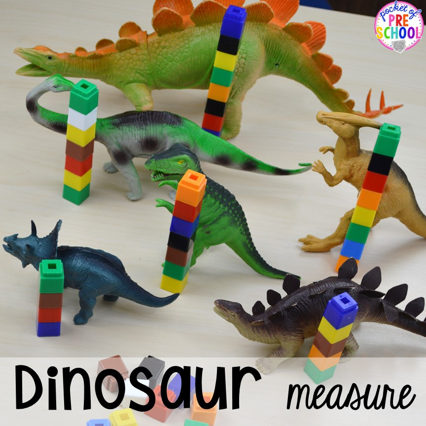 Dinosaur number measure plus tons of dinosaur themed activities & centers your preschool, pre-k, and kindergarten students will love! #preschool #pocketofpreschool #dinosaurtheme