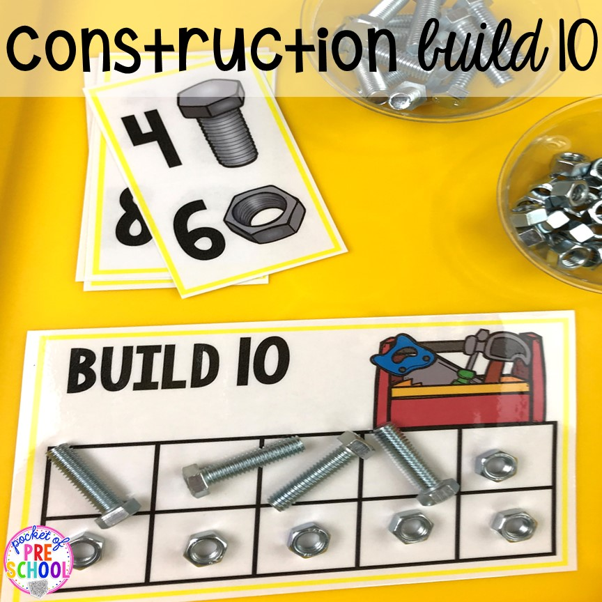 Constriction build 10 game! Construction themed centers and activities my preschool & pre-k kiddos will LOVE! (math, letters, sensory, fine motor, & freebies too)