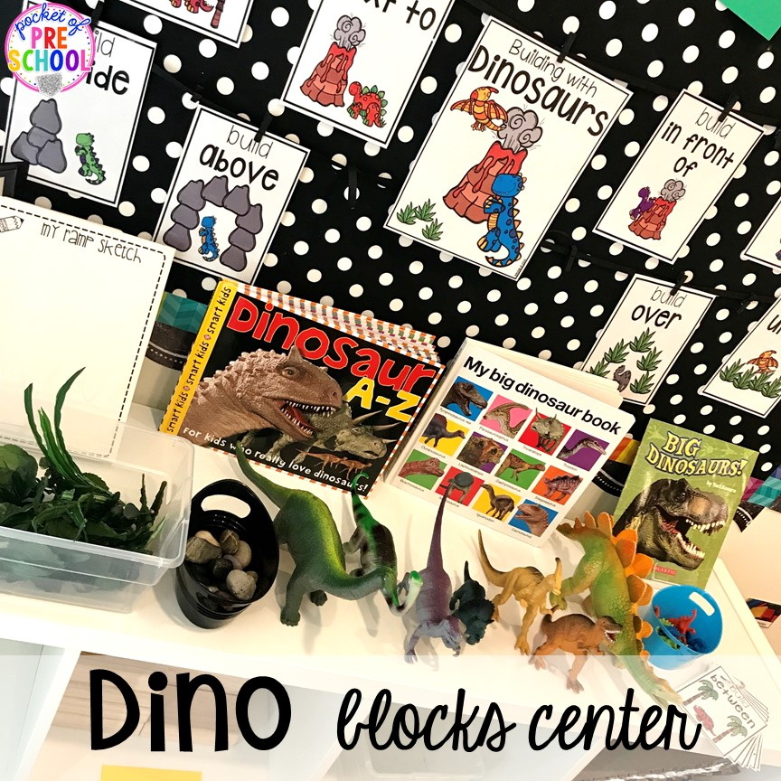 Dinosaur blocks center plus tons of dinosaur themed activities & centers your preschool, pre-k, and kindergarten students will love! #preschool #pocketofpreschool #dinosaurtheme