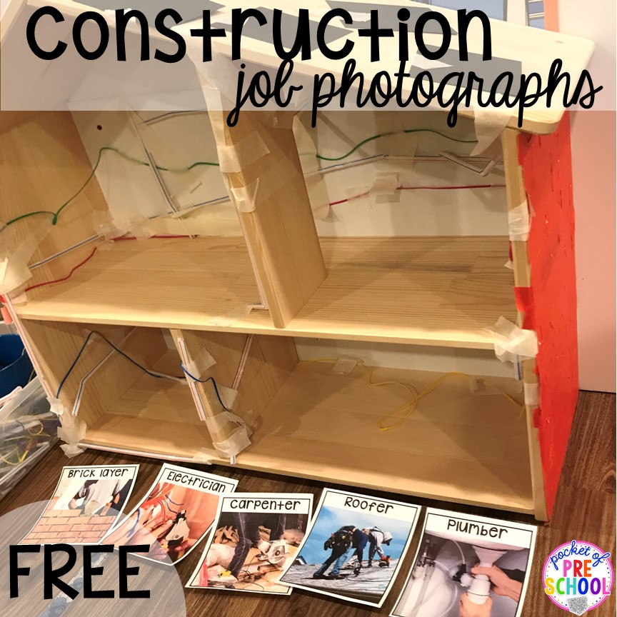 FREE construction jobs printable! Construction themed centers and activities my preschool & pre-k kiddos will LOVE! (math, letters, sensory, fine motor, & freebies too)