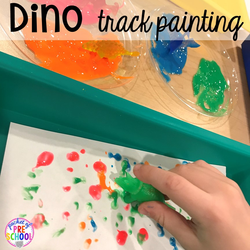 Dinosaur painting plus tons of dinosaur themed activities & centers your preschool, pre-k, and kindergarten students will love! #preschool #pocketofpreschool #dinosaurtheme