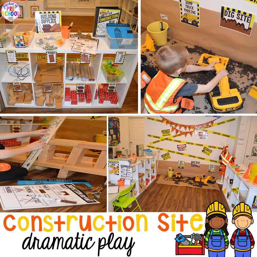 Constriction site dramatic play! Construction themed centers and activities my preschool & pre-k kiddos will LOVE! (math, letters, sensory, fine motor, & freebies too)