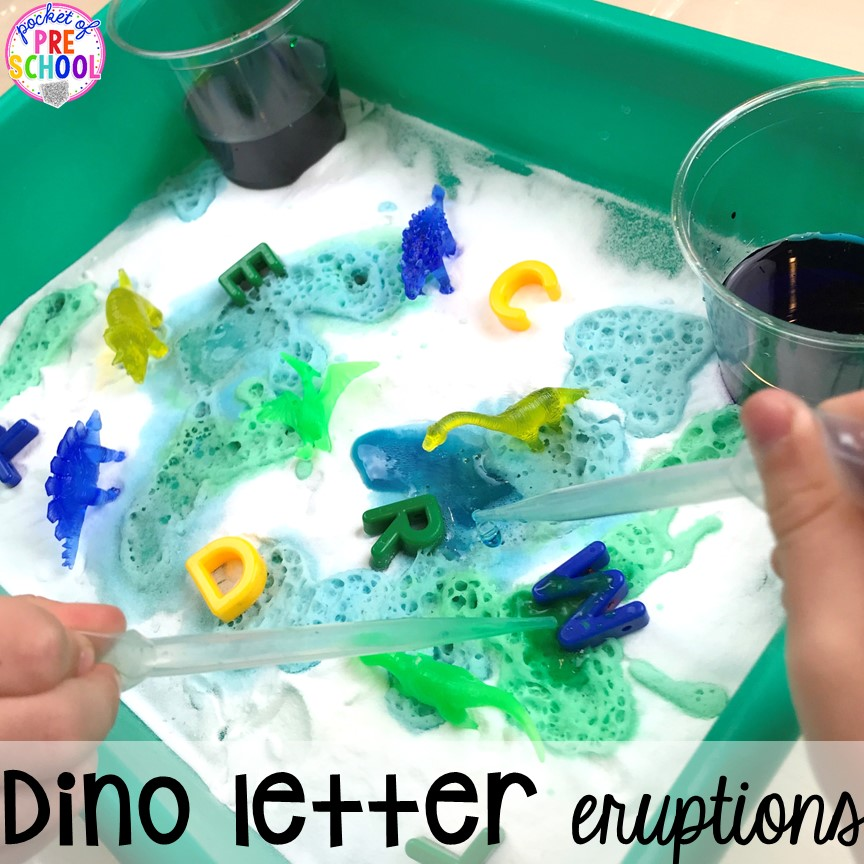 Dinosaur letter eruption plus tons of dinosaur themed activities & centers your preschool, pre-k, and kindergarten students will love! #preschool #pocketofpreschool #dinosaurtheme