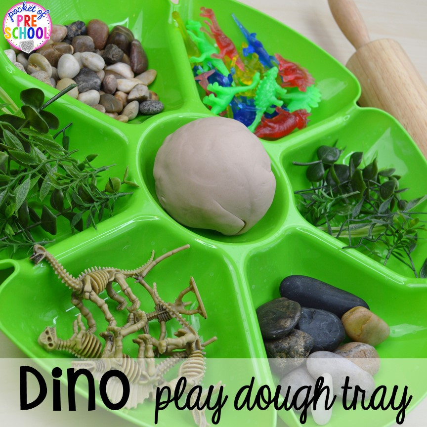 Dinosaur play dough tray plus tons of dinosaur themed activities & centers your preschool, pre-k, and kindergarten students will love! #preschool #pocketofpreschool #dinosaurtheme