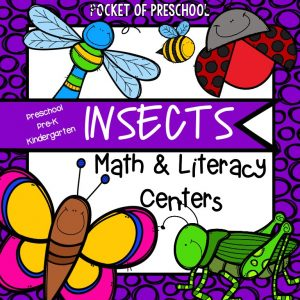 Insect math and literacy themed centers for preschool, pre-k, and kindergarten.