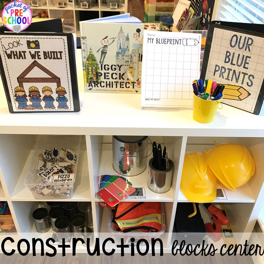 Construction blocks center! Construction themed centers and activities my preschool & pre-k kiddos will LOVE! (math, letters, sensory, fine motor, & freebies too)