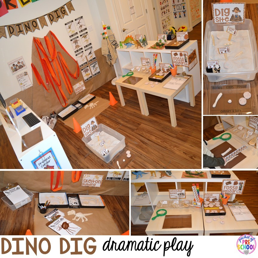 Dinosaur dino dig in the dramatic play center plus tons of dinosaur themed activities & centers your preschool, pre-k, and kindergarten students will love! #preschool #pocketofpreschool #dinosaurtheme