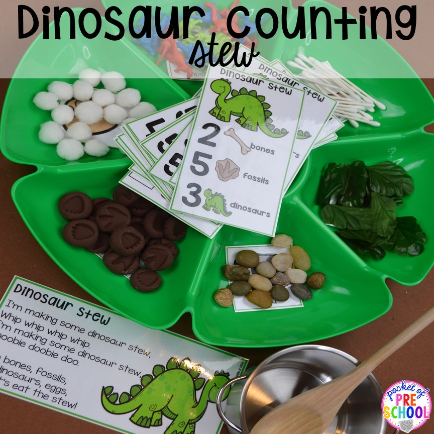 Dinosaur counting stew plus tons of dinosaur themed activities & centers your preschool, pre-k, and kindergarten students will love! #preschool #pocketofpreschool #dinosaurtheme