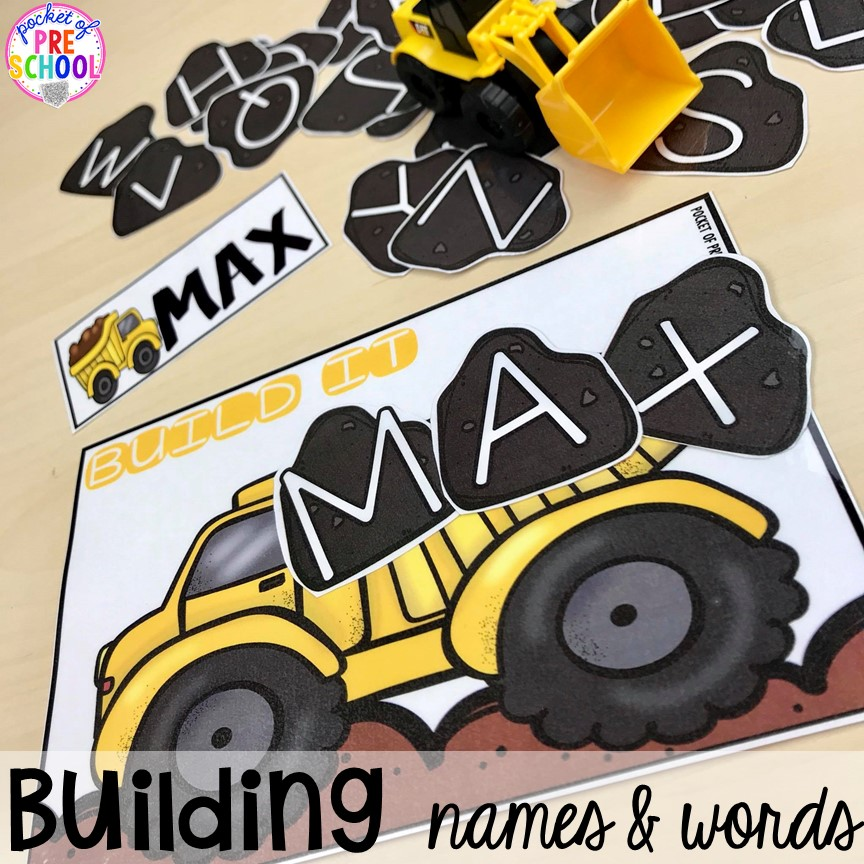 Building names & sight words! Construction themed centers and activities my preschool & pre-k kiddos will LOVE! (math, letters, sensory, fine motor, & freebies too)