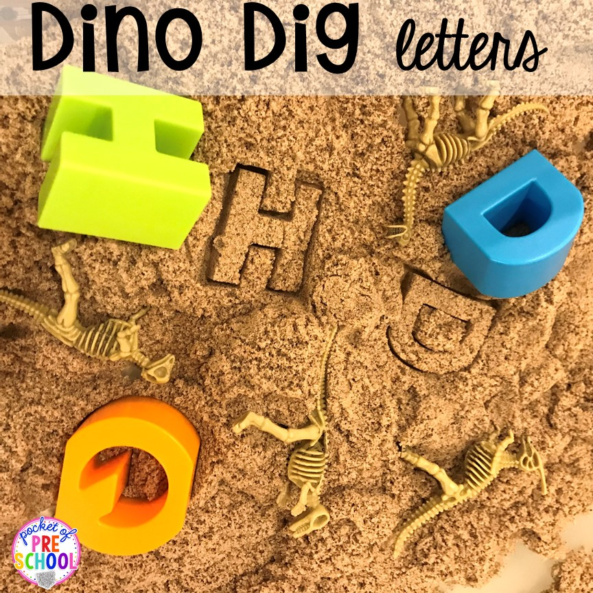 Dino dig for letters plus tons of dinosaur themed activities & centers your preschool, pre-k, and kindergarten students will love! #preschool #pocketofpreschool #dinosaurtheme