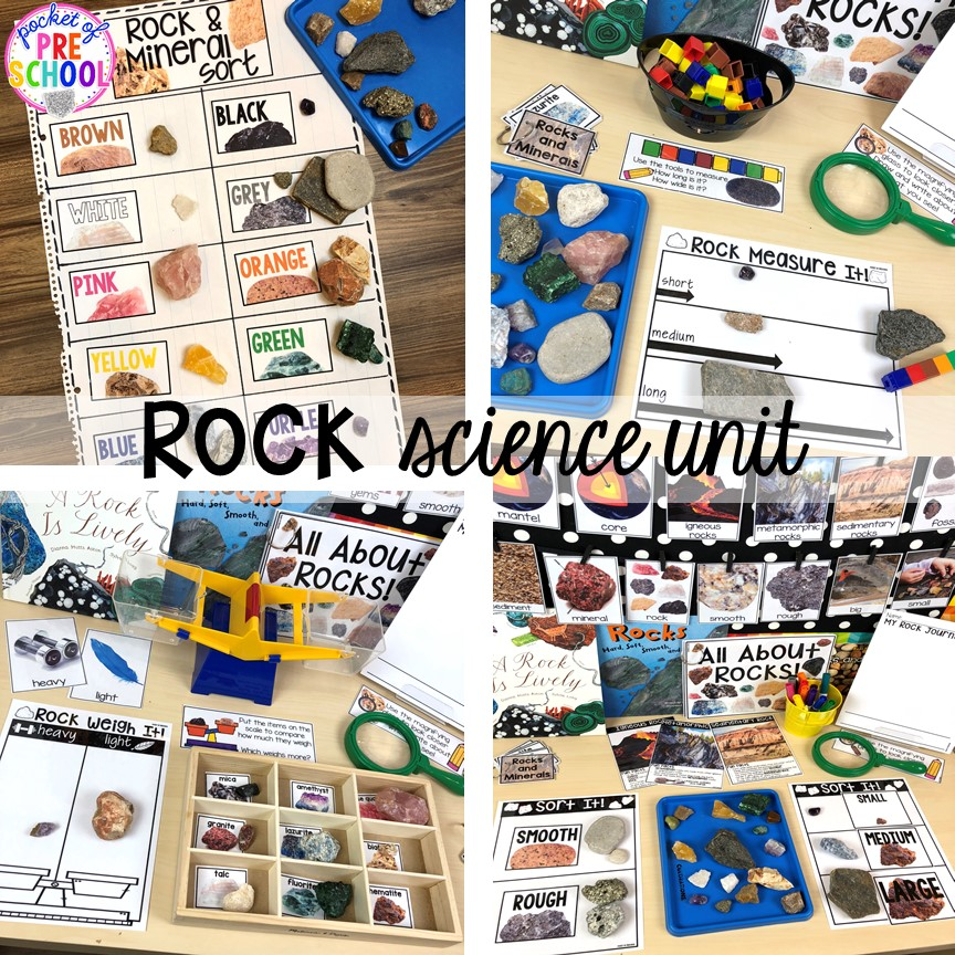 All about Rocks and Minerals science unit is packed with hands on rock investigations! Made for preschool, pre-k, an dkindergarten.