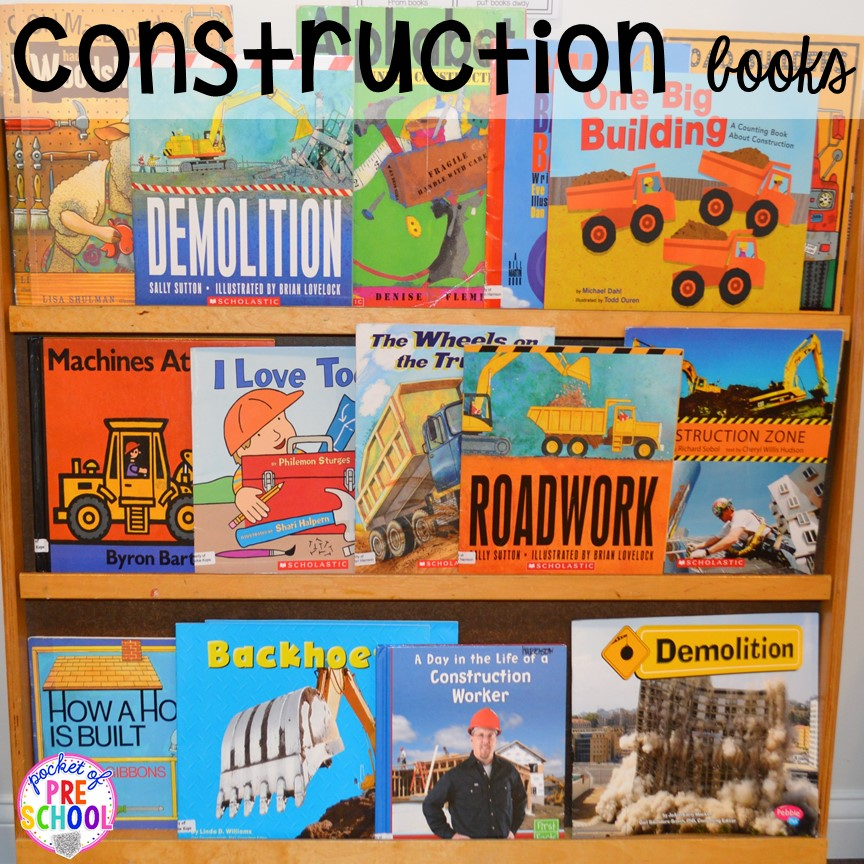 Construction bookshelf! Construction themed centers and activities my preschool & pre-k kiddos will LOVE! (math, letters, sensory, fine motor, & freebies too)
