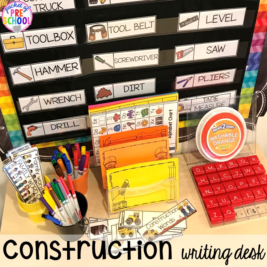 Construction writing center! Construction themed centers and activities my preschool & pre-k kiddos will LOVE! (math, letters, sensory, fine motor, & freebies too)