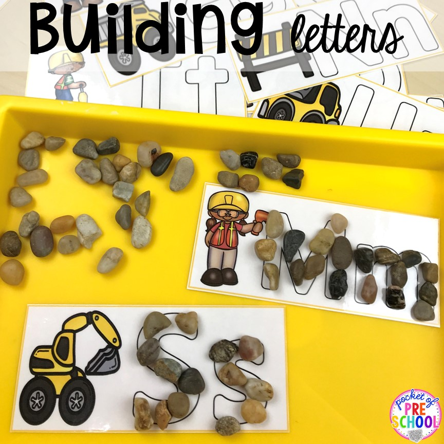 Build letters with rocks! Construction themed centers and activities my preschool & pre-k kiddos will LOVE! (math, letters, sensory, fine motor, & freebies too)