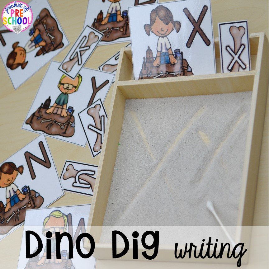 Dino dig writing tray plus tons of dinosaur themed activities & centers your preschool, pre-k, and kindergarten students will love! #preschool #pocketofpreschool #dinosaurtheme