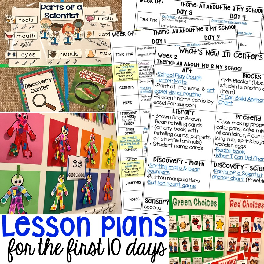 The first 10 days of school lesson plans designed for preschool, pre-k, and kindergarten