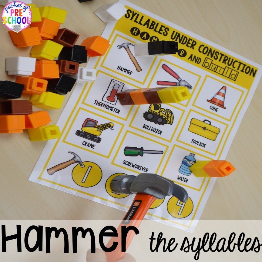 Construction syllables game! Construction themed centers and activities my preschool & pre-k kiddos will LOVE! (math, letters, sensory, fine motor, & freebies too)