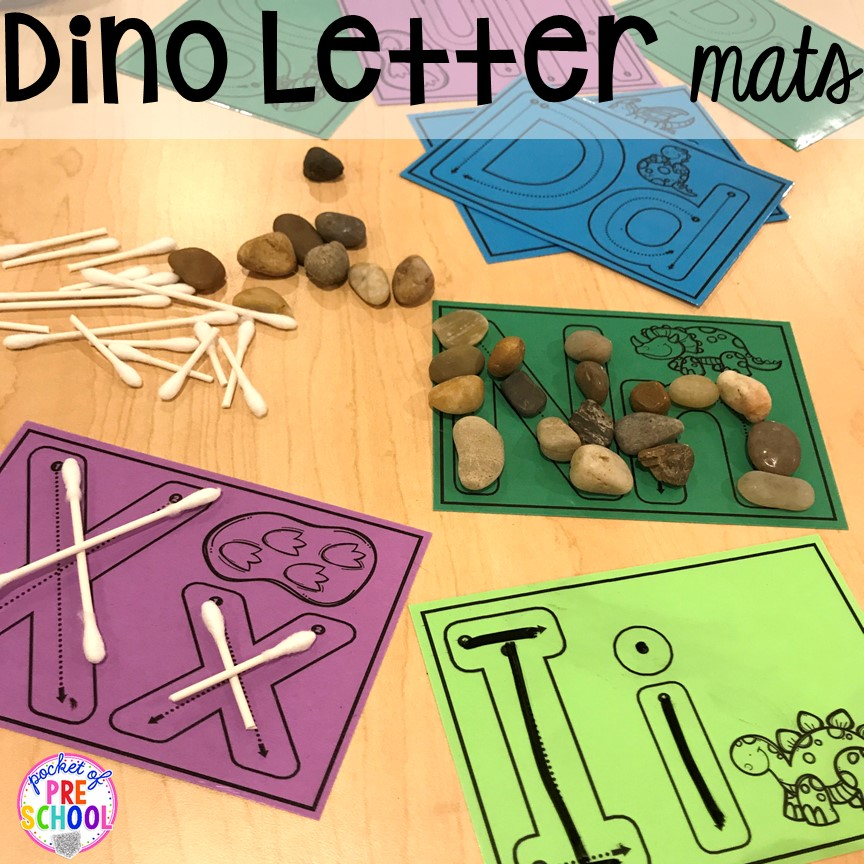 Dinosaur handwriting plus tons of dinosaur themed activities & centers your preschool, pre-k, and kindergarten students will love! #preschool #pocketofpreschool #dinosaurtheme