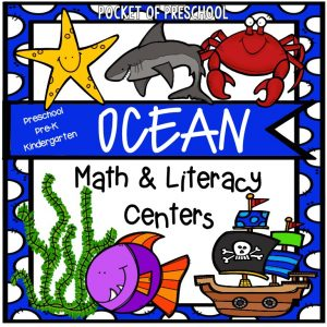 Ocean math and literacy centers for preschool, pre-k, and kindergarten.