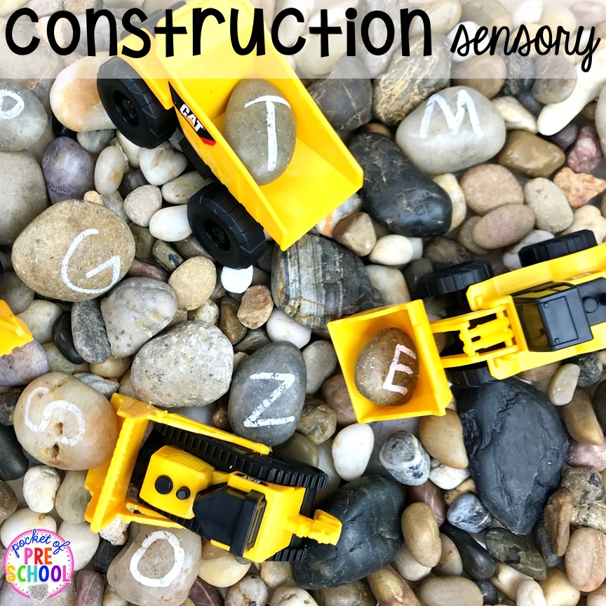 Construction sensory table! Construction themed centers and activities my preschool & pre-k kiddos will LOVE! (math, letters, sensory, fine motor, & freebies too)