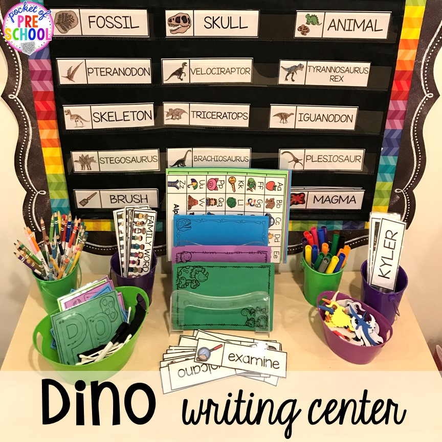 Dinosaur writing center plus tons of dinosaur themed activities & centers your preschool, pre-k, and kindergarten students will love! #preschool #pocketofpreschool #dinosaurtheme