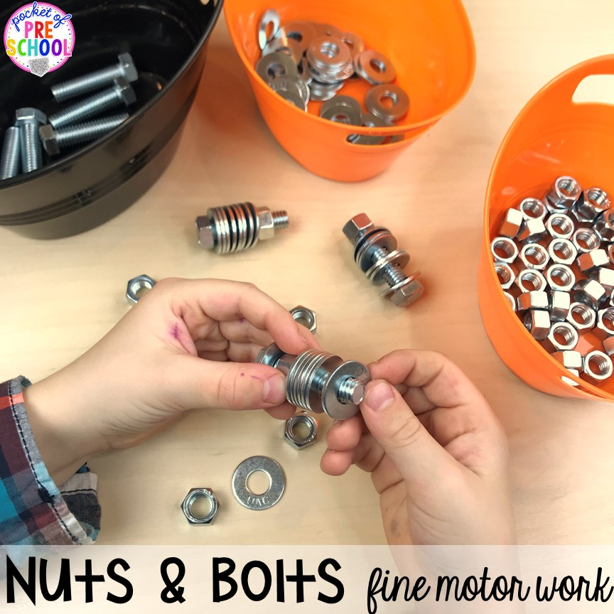 Construction fine motor! Construction themed centers and activities my preschool & pre-k kiddos will LOVE! (math, letters, sensory, fine motor, & freebies too)