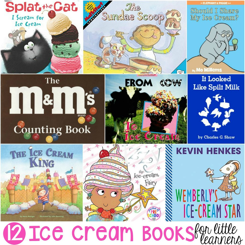 Big ice cream book list perfect for circle time in preschool, pre-k, and kindergarten classrooms! #icecream #booklist #preschool #prek