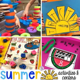 Summer themed activities for every center in the classroom (math, library, writing, letters, sensory, art, blocks, fine motor, & word work). Preschool, pre-k, & kinder kiddos will LOVE them! #summertheme #preschool #prek