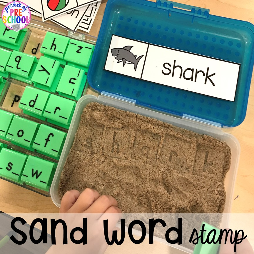 Word work stamp in the sand plus tons of summer themed activities your preschool, pre-k, and kindergarten kiddos will LOVE! #preschool #pre-k #summertheme