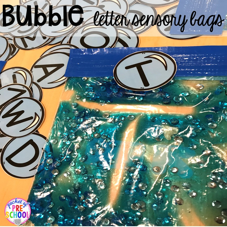 BUBBLE themed sensory bag handwriting practice plus tons of summer themed activities your preschool, pre-k, and kindergarten kiddos will LOVE! #preschool #pre-k #summertheme