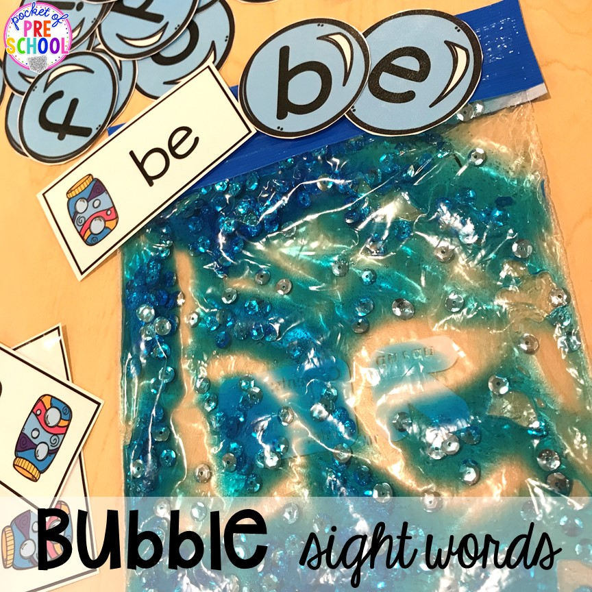 Bubble themed Sensory bag sight word practice plus tons of summer themed activities your preschool, pre-k, and kindergarten kiddos will LOVE! #preschool #pre-k #summertheme