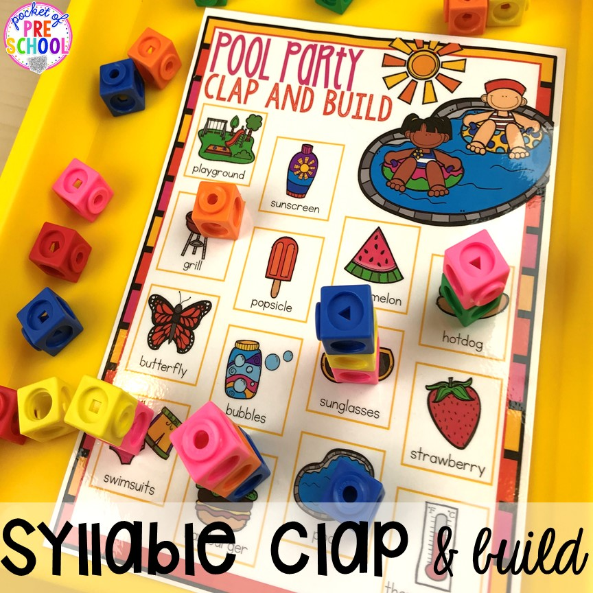 Summer syllable game plus tons of summer themed activities your preschool, pre-k, and kindergarten kiddos will LOVE! #preschool #pre-k #summertheme
