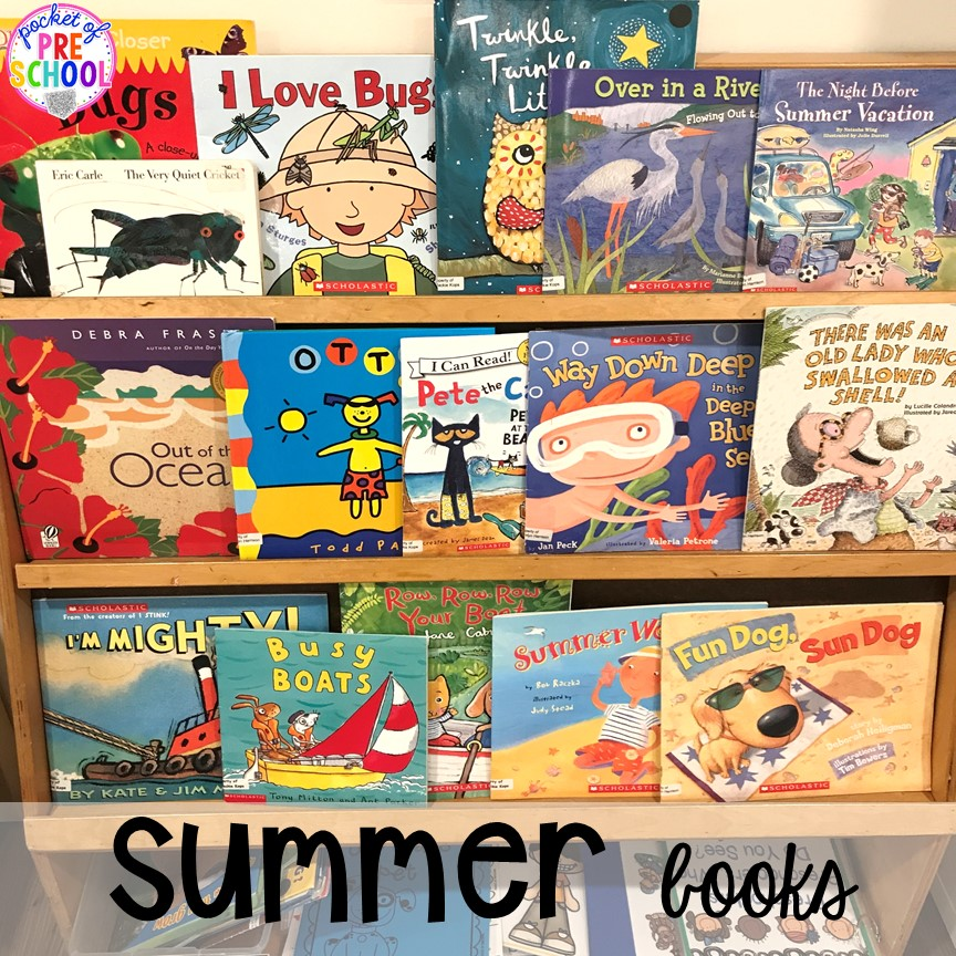 Summer book list plus tons of summer themed activities your preschool, pre-k, and kindergarten kiddos will LOVE! #preschool #pre-k #summertheme
