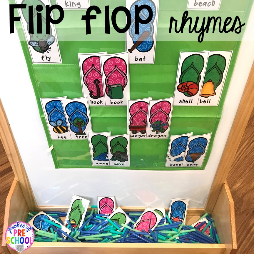 Summer flip flop rhymes plus tons of summer themed activities your preschool, pre-k, and kindergarten kiddos will LOVE! #preschool #pre-k #summertheme