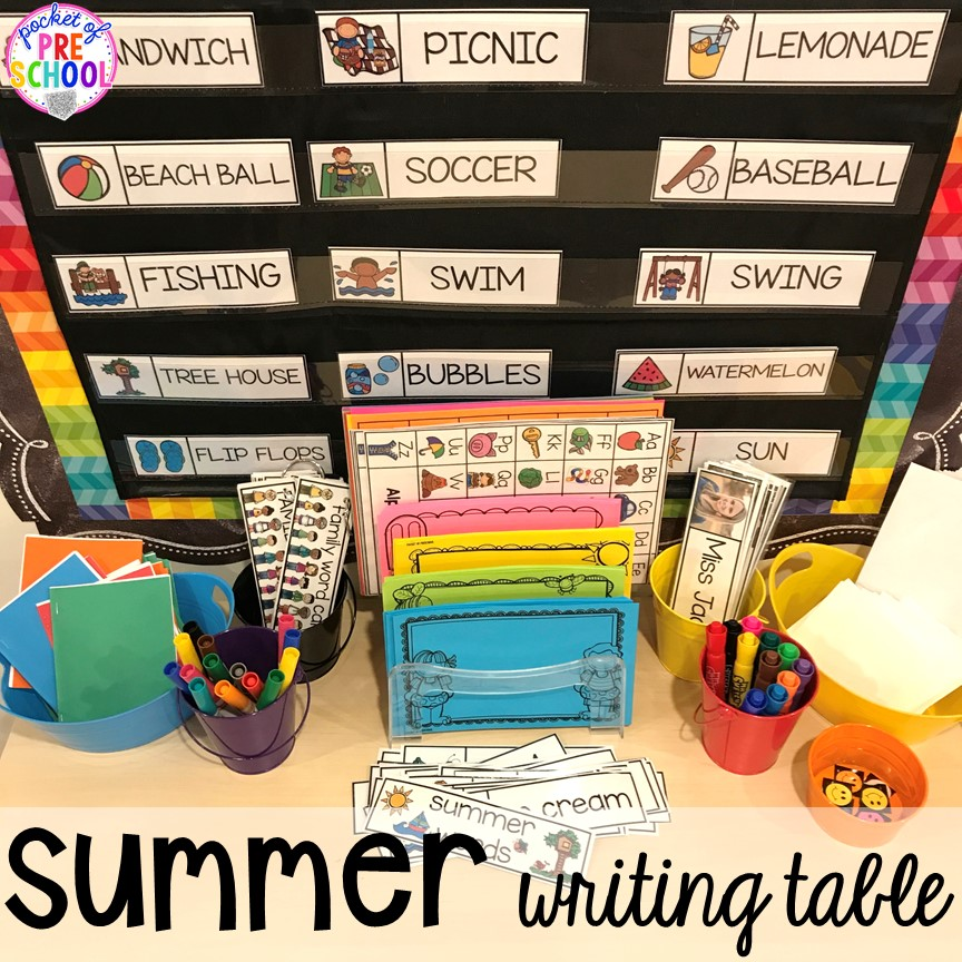Summer theme writing table plus tons of summer themed activities your preschool, pre-k, and kindergarten kiddos will LOVE! #preschool #pre-k #summertheme