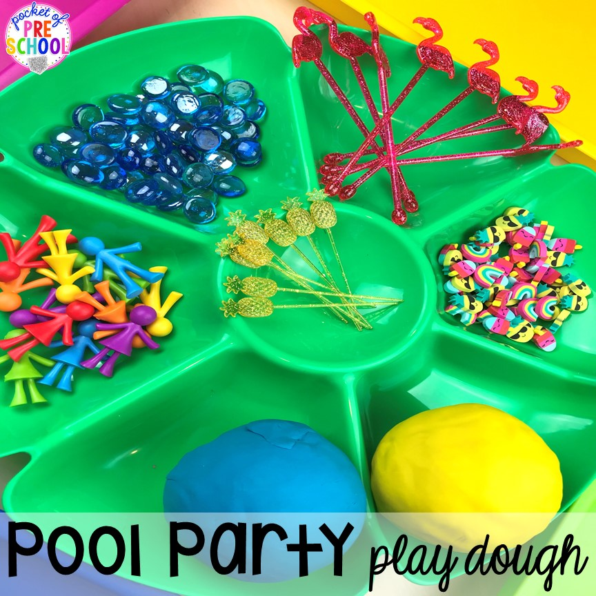 Pool party play dough tray for summer plus tons of summer themed activities your preschool, pre-k, and kindergarten kiddos will LOVE! #preschool #pre-k #summertheme