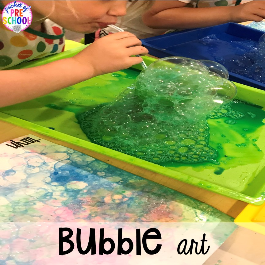 Bubble art plus tons of summer themed activities your preschool, pre-k, and kindergarten kiddos will LOVE! #preschool #pre-k #summertheme