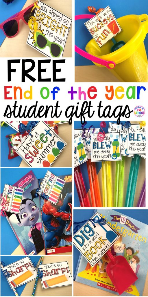 End of the year student gift tags (free printables) using cheap items from the dollar store and Target Dollar Spot. Pocket of Preschool #preschool #prek #kindergarten #endoftheyear #endoftheyeargift #freeprintbale