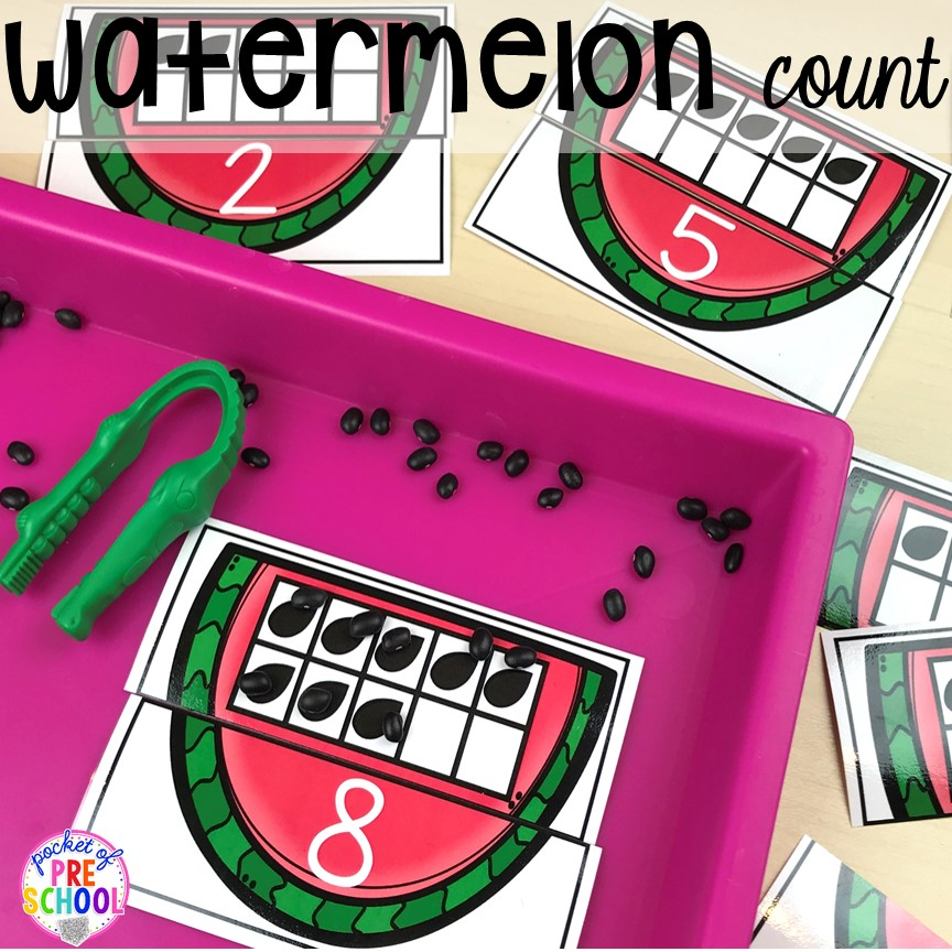 Watermelon counting puzzles plus tons of summer themed activities your preschool, pre-k, and kindergarten kiddos will LOVE! #preschool #pre-k #summertheme