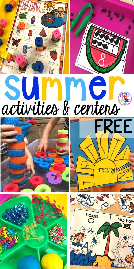 Sun name FREEBIE plus tons Summer themed activities for every center in the classroom (math, library, writing, letters, sensory, art, blocks, fine motor, & word work). Preschool, pre-k, & kinder kiddos will LOVE them! #summertheme #preschool #prek