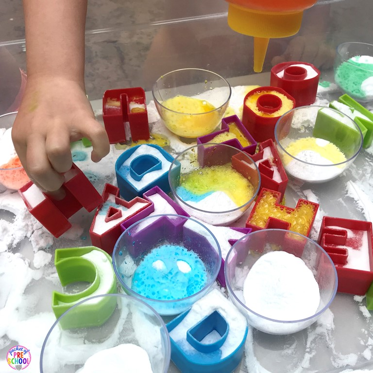 Letter Volcanoes will get your students excited about letters and it's great fine motor work too! Preschool, pre-k, and kindergarten kiddos will go crazy for this! #letters #preschool #letteractivity #prek