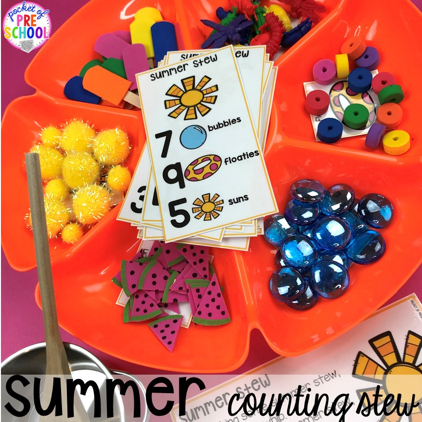 Summer counting stew plus tons of summer themed activities your preschool, pre-k, and kindergarten kiddos will LOVE! #preschool #pre-k #summertheme