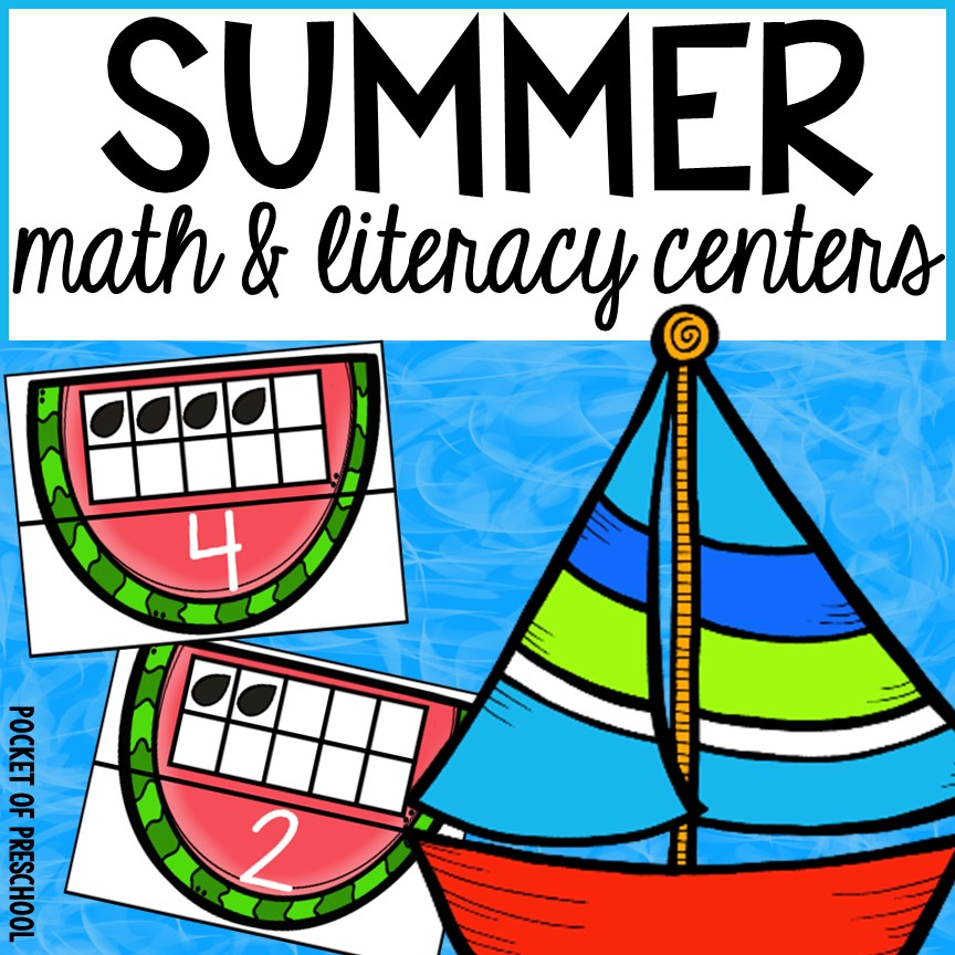 Summer math & literacy centers for preschool, pre-k, and kindergarten