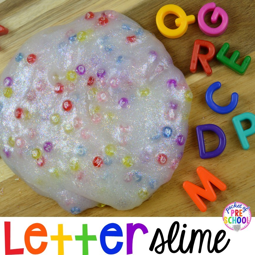 Letter slime! Check out how we made letter slime for a fun literacy experience for my little learners.