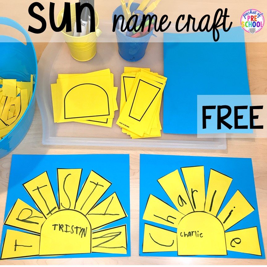 FREE sun name craft plus tons of summer themed activities your preschool, pre-k, and kindergarten kiddos will LOVE! #preschool #pre-k #summertheme