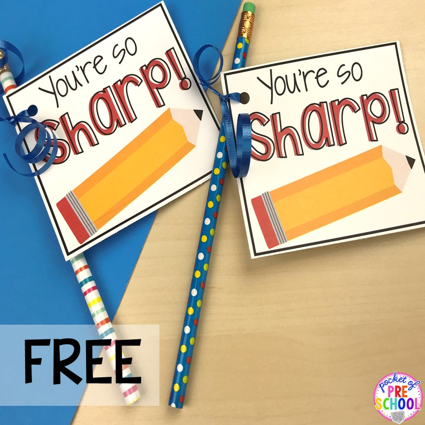 Pencil gift tag! End of the year student gift tags (free printables) using cheap items from the dollar store and Target Dollar Spot. Pocket of Preschool #preschool #prek #kindergarten #endoftheyear #endoftheyeargift #freeprintbale
