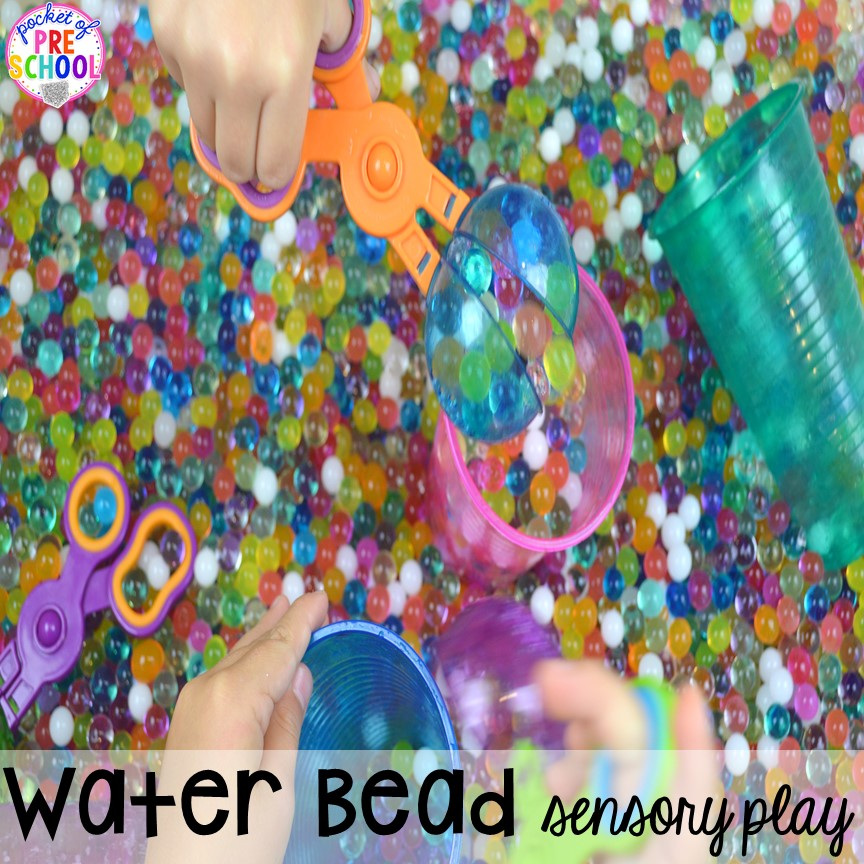 Water bead sensory play plus tons of summer themed activities your preschool, pre-k, and kindergarten kiddos will LOVE! #preschool #pre-k #summertheme